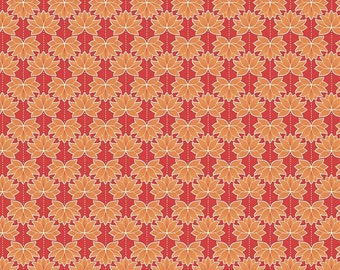 Red and Orange Lotus flower fabric - Minshan, Lewis and Irene - modern fabric, modern floral, asian floral, orange fabric, red fabric