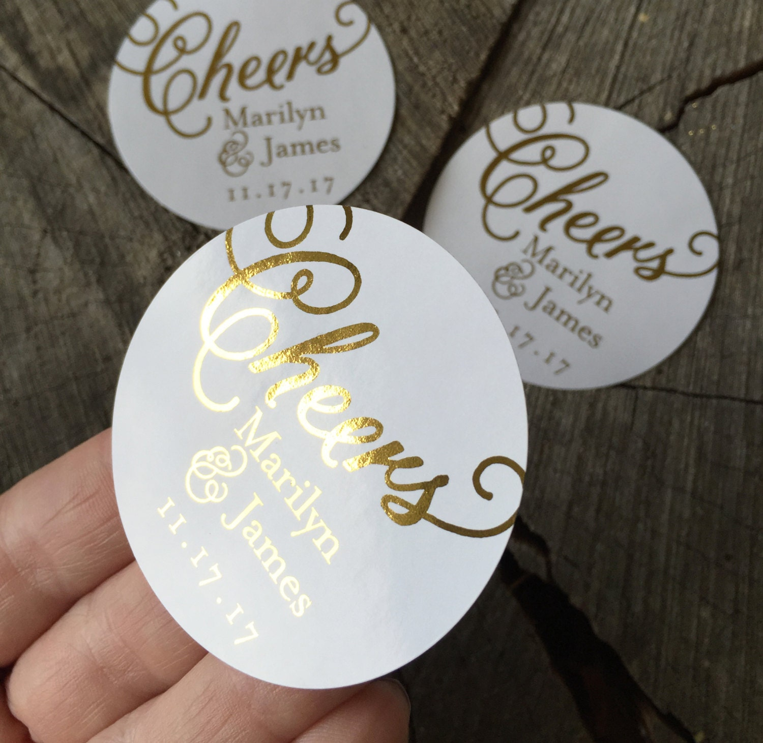 Gold Foil Cheers Calligraphy Wedding Stickers Rose Gold