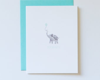 New Baby Boy Card, Baby Elephant Card, Baby Shower Card for Boy, Baby Shower Gift, Little Boy Baby Shower, Baby Blue Elephant Card