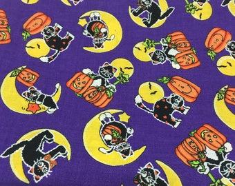 "HALLOWEEN FABRIC ""Halloween Spirit"" #6010 Cotton 1 Yard 43"" Wide Black Cats, Moon, Jack o Lantern, Pumpkins"