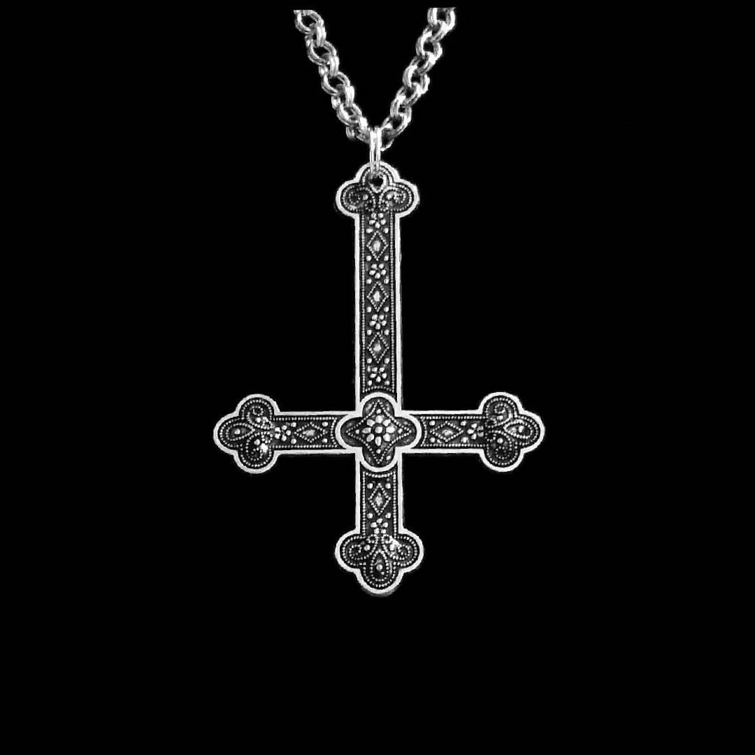 Inverted cross necklace upside down cross satanic jewelry zoom buycottarizona