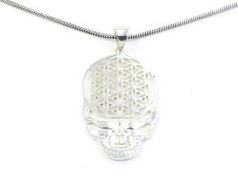 Grateful Dead Flower Of Life Necklace, Sacred Geometry Pendant, Skull, Deadhead, Festival Jewelry, Boho, Bohemian, Gypsy, Hippie, Spiritual