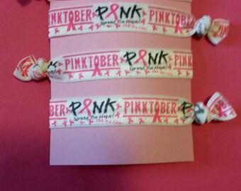Set of 4 Pinktober elastic Hair ties