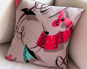 Retro Pillow Cover -- Atomic Party -- Fuchsia Red and Turquoise on Taupe Vintage Barkcloth