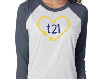 """Down Syndrome Awareness Shirts ~ ADULT SIZES - Unisex Raglan Style Next Level Heather and Indigo Shirt with Yellow and Blue """"T21"""" Heart Logo"""