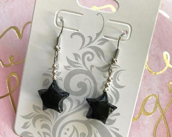 Black Origami Lucky Star Earring (READY TO SHIP)