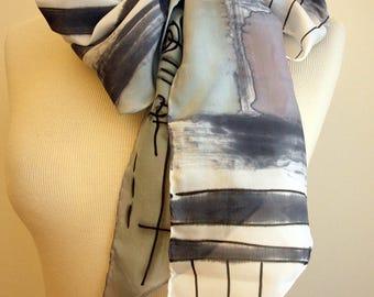 "Handpainted Silk Scarf. Silk Scarf. Hand Painted Silk. Grey-Black-White silk scarf.Wedding Gift. Silk belt. Silk Headband. Silk Art.78""x7.8"""