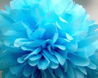 AZURE / 1 tissue paper pom pom / wedding decoration / diy / baptism decorations / blue decorations / bright party decorations / birthday pom