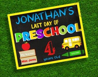 Last day of preschool chalkboard poster, School Poster, Last day of preschool, Preschool, Chalkboard, Editable, Instant download,