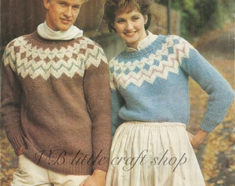 His and her chunky yoked sweater knitting pattern. Instant PDF download!