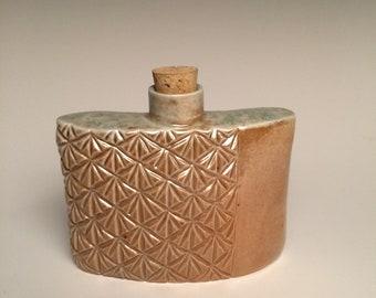 Hand Carved Ceramic Flask