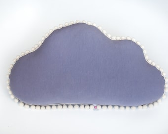 "Extra soft pillow ""Cloud"" with pompoms (violet), cushion"