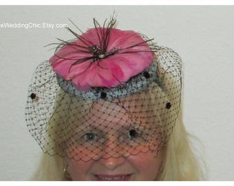 Kentucky Derby Fascinator, Kentucky Derby Hat, Pink Feathers Fascinator, Tea Party Fascinator