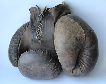 Soviet Boxing Gloves 1974. Vintage Boxing Gloves. Leather Gloves. Leather. Box. Sport. Antique  Boxing Gloves. Retro. Soviet.USSR.