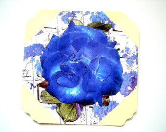 Postcard Blue rose and its envelope. Collage on paper