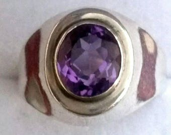 Vintage Amethyst Ring, Silver and amethyst, vintage jewelry, fine quality amethyst, size R, U.S 83/4