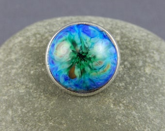 "Lampwork art glass button ""Tie-Dye"" for jewellery, jewelry, beadwork, bags, purses, clothing, etc.  FHFteam Y3, GBUK, SRA"