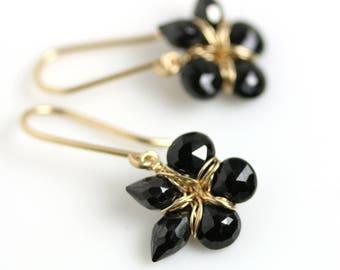 Black Spinel Flower Earrings. Black Spinel and Gold Fill Floral Earrings.