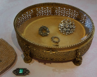 Vintage Ornate Gold Plate 350 Jewelry Casket with Beveled Glass and Cherubs