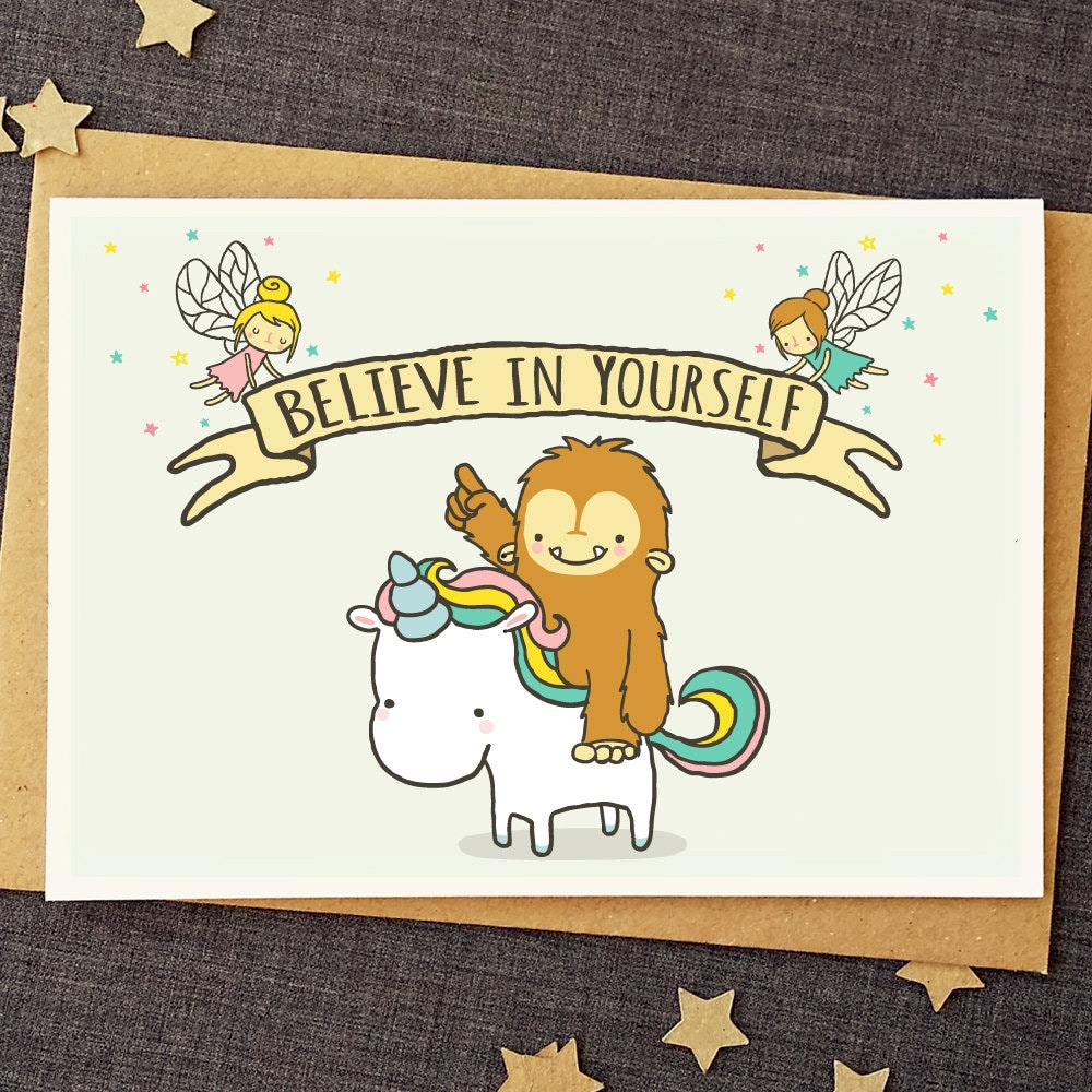 Funny Good Luck Card Believe In Yourself Unicorn Card