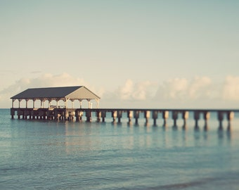 "Landscape Photography, Hawaii, Hanalei Bay Pier Photo, Nautical Beach Decor, Ocean Art, Blue Wall Decor, Summer Print ""Ocean Front"""