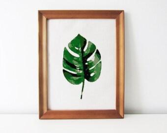 Monstera leaf cross stitch pattern - botanical cross stitch - PDF - Instant download