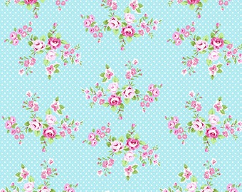 Charlotte Blue Spring Bouquet Yardage SKU# PWTW147.BLUEX  by Tanya Whelan for Free Spirit Fabrics