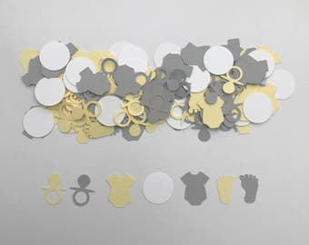 Gender Neutral Baby Shower Confetti | Yellow and Grey baby shower | Baby shower | Gender Neutral
