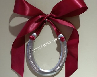 Horseshoe, horse shoes,horseshoe adorned w rhinestone bling w Cranberry Satin Bow,horse shoe,housewarming gift,horseshoe decor,horseshoe art
