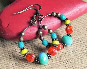 colorful boho earrings, bohemian jewelry, boho hoops, hoop earrings, drop dangle, gift for her, gift for women, beaded hoops
