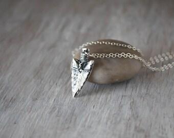 Silver Arrowhead Necklace -  Sterling Silver - .999 Fine Silver Arrow head Pendant - Handcrafted Artisan Jewelry