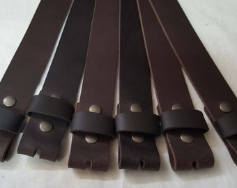 """Dark Brown Buffalo Leather Belts w/ Snaps for Suits or Jeans Made to Measure - Custom Cut Leather Snap Belts 1.5"""" or 1.25"""" for Adults /Kids"""
