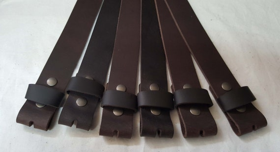 "Dark Brown Buffalo Leather Belts with Snaps for Suits or Jeans Made to Measure - Custom Cut Leather Snap Belts 1.5"" or 1.25"" for Adults /Kid"