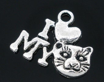 "5 Pieces Antique Silver ""I Love My Cat"" Charm"