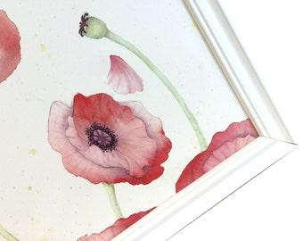 Magnet Board - Magnetic Memo Board - Dry Erase Board - Framed Bulletin Board - Office Wall Decor - Watercolor Poppy Design - inclds magnets