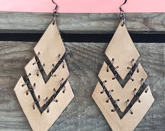 Leather Drop Chevron Earrings