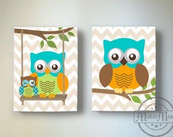 Kids Wall Art, Owl Nursery, Baby Boy Owl Decor, Owl Nursery Decor - Owl For Boy Room - OWL canvas art, Owl Decor Nursery  Wall Art