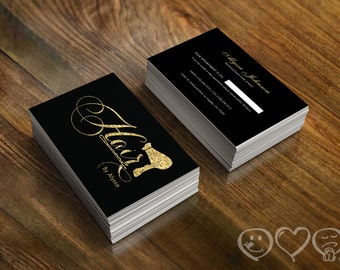 Modern custom hair stylist business cards professionally elegant black and gold glitter hair stylist business cards appointment cards for hair colourmoves