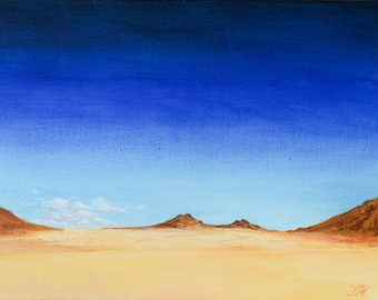 Desert sky with rocks acrylic painting