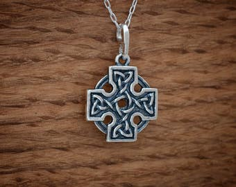 STERLING SILVER Celtic Cross Pendant Necklace - Chain Optional
