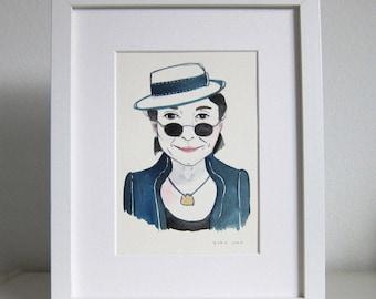 Art - Portrait Painting - Watercolor Painting - Watercolor Portrait - Yoko One Portrait - Yoko Ono Watercolor Portrait - Yoko Ono
