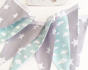 Mint and Grey Bunting, Clouds and Stars, Baby Nusery, Nursery Decor