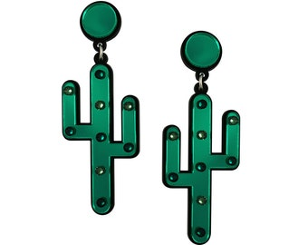 Desert Cactus Earrings, statement earrings, cactus jewelry, fun earrings, plastic earrings