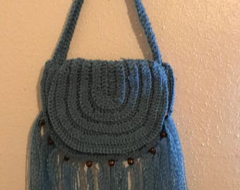 Blue Beaded and Fringed Crochet Purse