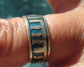 Turquoise Enamel and Sterling Silver Ring Size 5.5