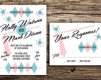 Retro Wedding Invitation Set // 50s Wedding Retro Invite Palm Springs Wedding Las Vegas Wedding Retro Wedding Pastel Pink Turquoise Card