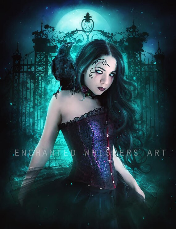 Gothic fantasy woman with crow art print