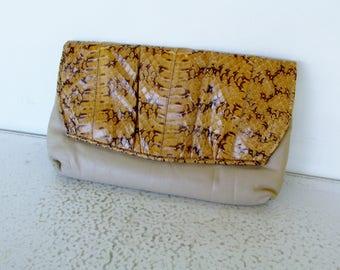 Snakeskin Clutch Purse Leather Bag with Shoulder Strap Handbag