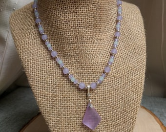 Purple and Seafoam Green Sea Glass Necklace and Bracelet Set