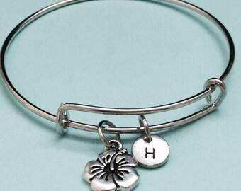 Flower bangle, flower charm bracelet, expandable bangle, personalized bracelet, initial bracelet, monogram